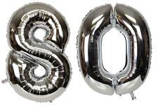 Large Number 80 Silver Balloons 80th Birthday Anniversary Foil Float Helium USA