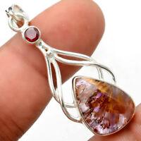 Cacoxenite Super Seven 7 Mineral and Garnet 925 Silver Pendant Jewelry AP64341