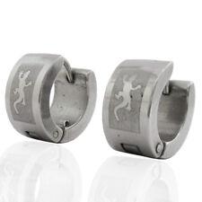 Orecchini a cerchio mm 13x7 unisex acciaio liscio con geco laserato