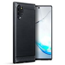 Samsung Galaxy Note 10 Plus TPU Gel Silicone Rubber Case Carbon Fibre in Black