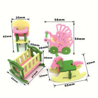 Baby Wooden Dollhouse Furniture Dolls House Miniature Child Play Toys Gifts I7Z7