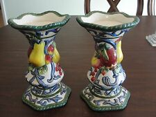 """FITZ & FLOYD 2 CANDLE HOLDERS 7 1/2"""""""
