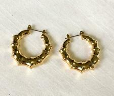 Gold Tone Hinge Back Hoop Earring With a Bamboo Appearance