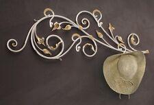 Appendiabiti da parete in ferro battuto bianco e oro dipinto a mano BELL AT/510