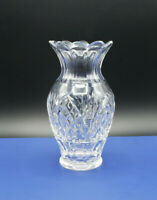 "Stunning Waterford Lead Crystal Cut Scalloped Edge Vase 9"" Vintage"