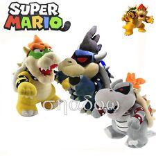 Super Mario Bros. Dark Bowser Dry Bowser Koopa Plush Toy Doll Figure Gift 3pcs