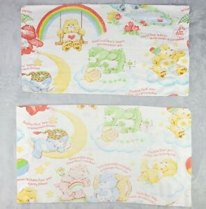 Care Bear Pillowcases Lot of 2 Vintage Standard or Queen Multicolor Made in USA