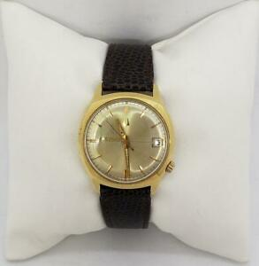 Bulova Accutron 218D Date Running With Leather Band 14k Gold Filled Case