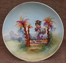 Antique Japonism Cabinet PLate Aesthetic Movement Enamel Porcelain 1880