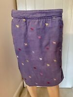 White Stuff Skirt Ladies Womens Size 12 Navy Blue Camel Pattern Print Pockets