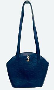 Auth Vintage Blue YVES SAINT LAURENT YSL Bag Arabesque Pattern Leather Rare!!