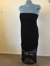 Women's Black Crochet Dress Long Maxi Sleeveless Size 2 Chico's Design