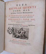 Giorgi Domenico : VITA DI NICCOLO V Roma 1742 Biografia Papa Latino Storiografia