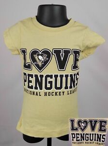 Pittsburgh Penguins Shirt Toddler 3T Yellow Love Penguins Graphic New ST99
