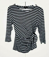 Phase Eight Grey Marl Striped Jersey Top With Side Tie & Long Sleeves UK 12