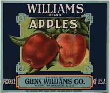 WILLIAMS Vintage Yakima Washington Apple Crate Label blue, **AN ORIGINAL LABEL**