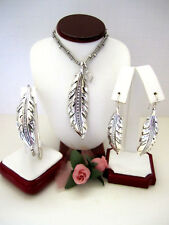 """Brighton """"CONTEMPO ICE FEATHER"""" Necklace-Earring-Bracelet Set (R$190) NWT/Pouch"""