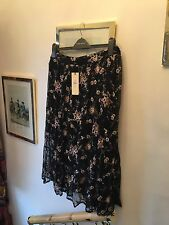 New Top Shop Black Net Sheer Sparkly Floral Embroidery Midi Skirt,12