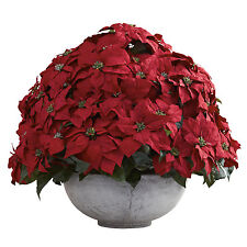 NEW POINSETTIA RED SILK FLOWER PLANTER VASE NEARLY NATURAL ARTIFICIAL HOUSEPLANT
