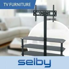 3 Shelf Tempered Glass TV Stand With Bracket 32 - 55 Inch 1200mm Wide Black