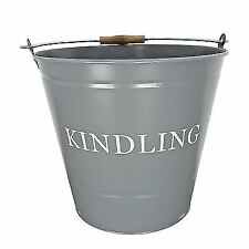 Manor Reproductions Large Round Grey Metal Kindling Bucket 0346