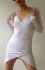 Blanc Long Manche Courte Mini Stretch Wrap Robe À Ourlet Asymétrique Taille 6