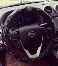 """15"""" cool skull black leather steering wheel cover size m"""