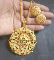 22K Gold Plated Indian Designer Necklace chain earrings pendant party bridal f