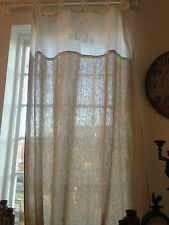 "EXQUISITE EXTRA LONG CURTAIN PANEL 100% LINEN ""101"" x 58"" WITH WHITE LACE DETAIL"