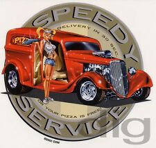 HOT PIZZA DELIVERY GIRL in 1930's Panel Wagon Hot Rod Sticker/Decal