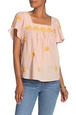 NWT $92 Madewell Floral Embroidered Flutter Sleeve Top sz XXS