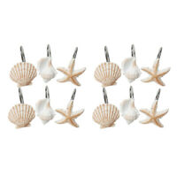 12Pcs Shower Curtain Hooks For Glider Rail Track Rings With Decorative Sea Shell