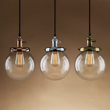 VINTAGE RUSTIC  PENDANT LIGHT ROUND GLOBE CLEAR GLASS SHADE HANGING LAMP FIXTURE