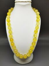 """17,7"""" Real Genuine Baltic Amber Choker Necklace Round beads Yellow/Citrine"""