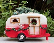 Miniature Dollhouse FAIRY GARDEN ~ Red Camper w LED Light & Tree / Garland ~ NEW