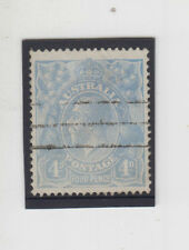 SCARCE stamp Australia 4d blue KGV with variety TEMPLE FLAW, lovely