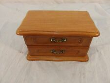 Wooden Jewelry Box W/ 2 Drawers & Small Mirror Green Felt Lined 32896