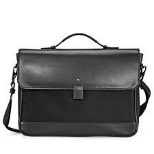MontBlanc Single Gusset Black Leather Briefcase 114840