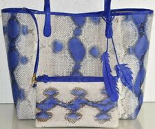 $2800 NEW Nancy Gonzalez Erica Tote MATTE PYTHON CROCODILE Blue Bag & Wallet