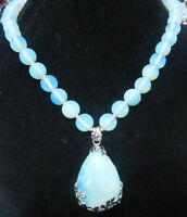 Pretty 10mm Sri Lanka Moonstone Gems Round Beads 25x35mm Pendant Necklace 18'