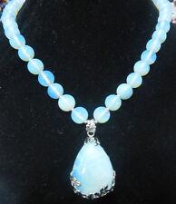 Pretty 10mm Sri Lanka Moonstone Gems Round Beads 25x35mm Pendant Necklace 18'