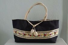 Thai Dupioni Silk Black Bag With Hand Embroidered Floral On Cream Border - New