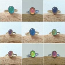 Sterling Silver Mood Ring, Handmade to order in UK, 10 x 7, Stunning Colours!
