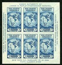 US #735 3¢ Byrd, Souvenir Sheet of 6, no gum as issued, XF, Scott CV $15.00