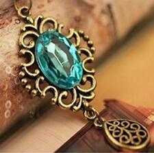 Vintage Womens Girls Sapphire Gemstone Pendant Necklace Long Chain Necklace HOAU