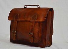Real genuine vintage handmade original leather messenger backpack rucksack bag