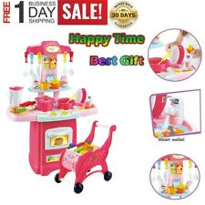 Kitchen Playset For Girls Pretend Play Toy Cooking Set Light & Sound Toddler Kid