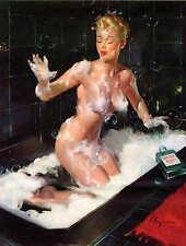 "RETRO PINUP QUALITY CANVAS PRINT Poster Gil Elvgren Bathing soap fail 24x16"""