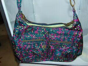 Travelon Anti-Theft Large Teal Floral Hobo Shoulder Bag Purse  NWOT