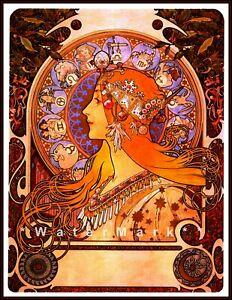 Zodiac 1896 Mucha Art Nouveau Vintage Poster Print Retro Style Home Decoration
